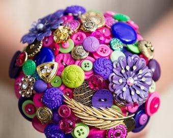 """Bridesmaids button bouquet posy   """"Lime light"""""""