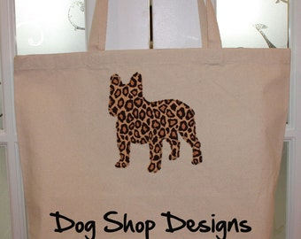 French Bulldog Appliqued Canvas Tote Bag