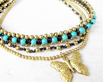 Butterfly Charm with Turquoise Woven Ankle Bracelet