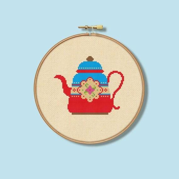 Little Vintage Teapot Cross Stitch Pattern (Digital Format - PDF)