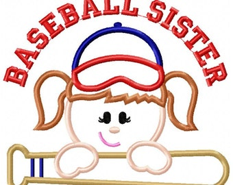 Baseball Sister Machine Embroidery Design
