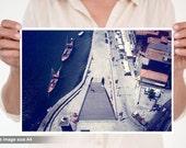 Image of the port of Porto, Oporto, Portugal. Europe.Oporto Fine art photography.Home Decor.Portugal.Etsy Wall Art. Vila Nova de Gaia