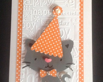 Cat Birthday Card,All ages card,cat lover,unisex card,Birthday card,Dimensional card