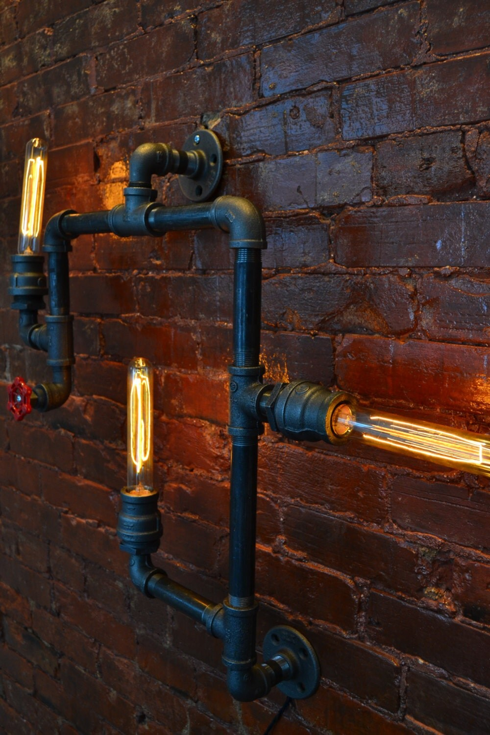 medium industrial steampunk pipe wall light industrial wall
