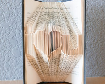 Boyfriend Gift-Folded Book Art- Book Lover-Home Decor-Altered Books-I love you