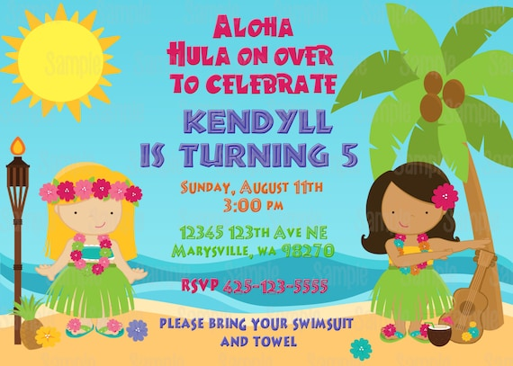 printable luau birthday party invitation plus free blank matching, Birthday invitations