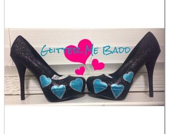 Hearts on black glitter heel