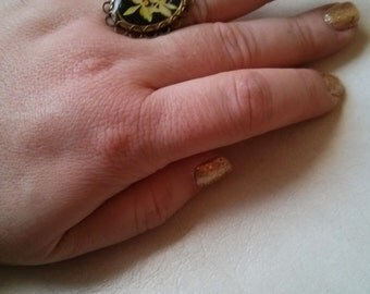 ON SALE Original Price 15.99 - Handmade Victorian Naturalist Style Plastic Enamel Orchid Adjustable Ring