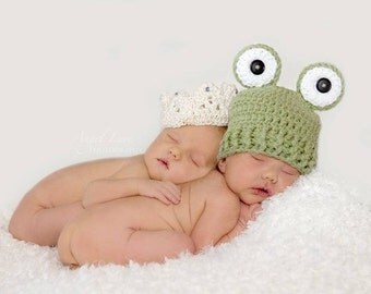Princess and the Frog Twin Knit Hats,  Fairy Tale Baby Hats Newborn Knit Hats Any Size Newborn Hat Photo Prop
