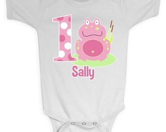 Pink Frog Froggy 1st Birthday Girl Onesie Design, Custom Made to Order from Mary and Peanut Kids