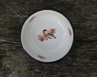 Soviet Unused  White Vintage enamel bowl with bullfinch bird ornament  - Home decor - Made in USSR
