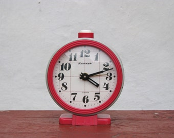 Vintage Alarm Mechanical Clock - Grey and Red - Made in USSR