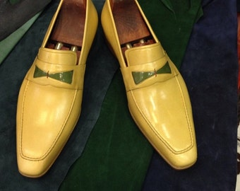 Handmade Special Design Luxury Yellow Mens Shoes