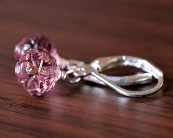 Purple Earrings, Drop, Glass Flowers, Rosebud Beads, Wire Wrapped Jewelry, Silver Plated Lever Back Leverback Earwires