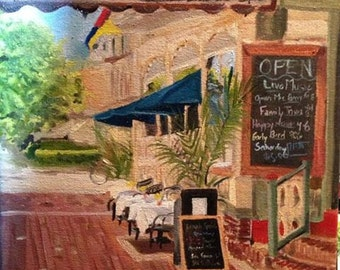 Cape May sidewalk oil painting