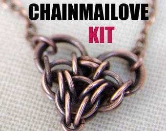 Chainmailove unit, chainmaille heart kit, ONLY jump rings - tutorial is sold separately!