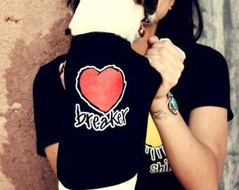 HEARTBREAKER- dog tee in black