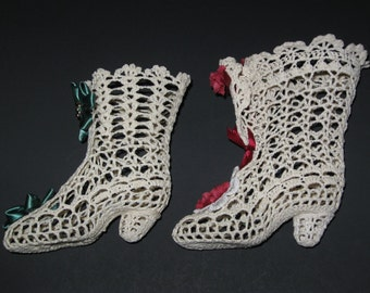 "5"" x 6"" Starched Doily Victorian Shoes"