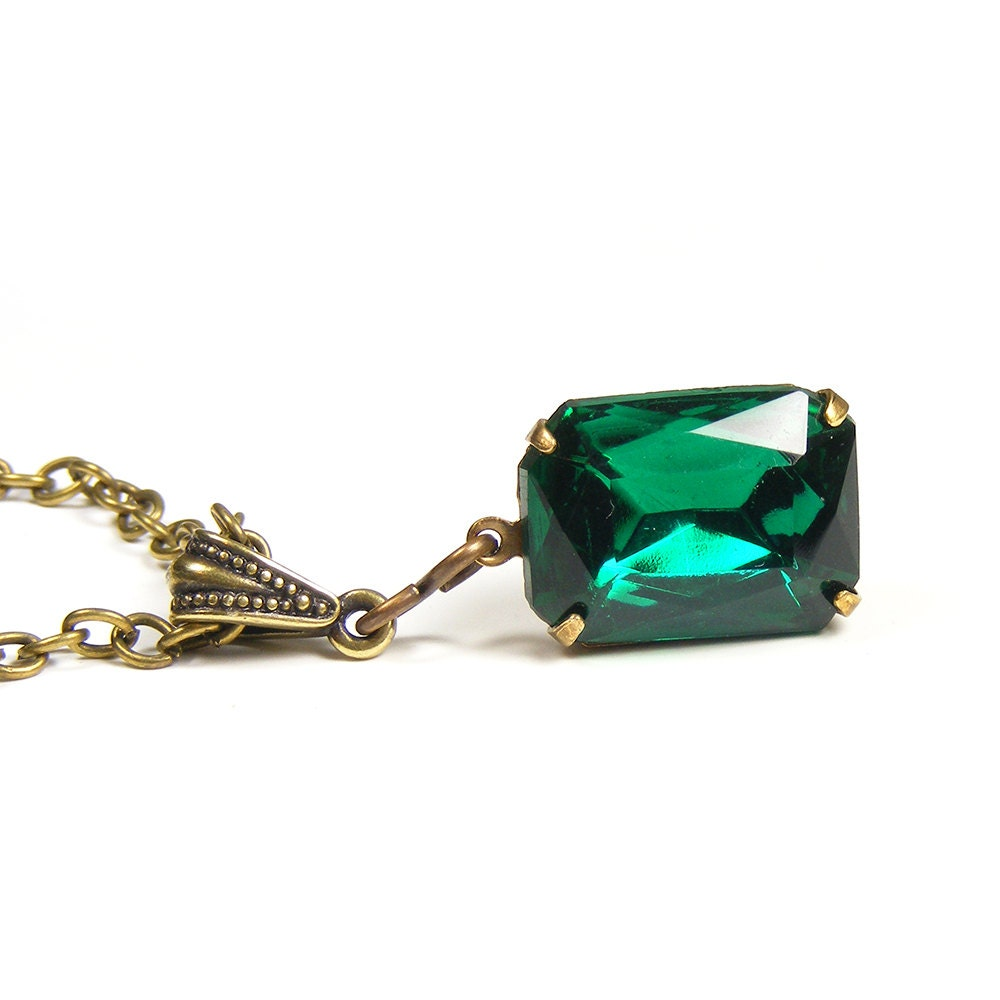 Emerald Jewel Pendant, Vintage Green Swarovski Crystal Rhinestone, Vintage Inspired Old Hollywood Estate Style Pendant Necklace