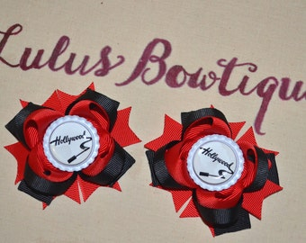 Inspired by Hollywood Red and Black Pigtails, Inspired Hollywood Pigtail Bows