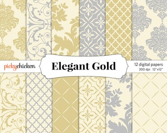 Gold Damask Digital Paper - silver, cream, gray, Wedding invitations, photography cards, scrapbooking 12x12 printable Instant Download 8030