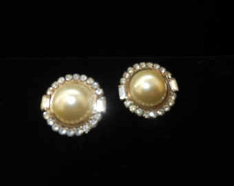 Pierced Earrings - White Pearl and Rhinestone Earrings