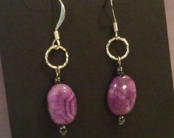 Purple Crazy Agate Earrings