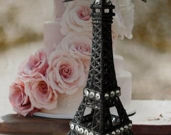 Wedding Cake Topper Black Eiffel Tower with Rhinestone Borders 5 1/2 inches tall,  We Ship Internationally