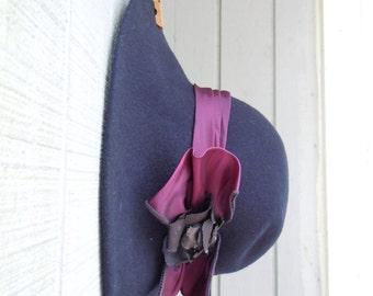 Vintage Big Brim Betmar New York Purple Wool Floppy Hat - Ladies Hippie Chic Wool Hat