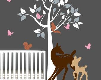 Tree Decal for Nursery with Deer, Baby Deer, and Butterflies