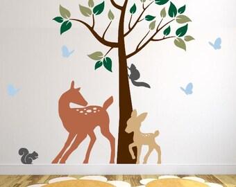 Nursery Wall Decal with Deer, Baby Deer, Butterflies, and Squirrels