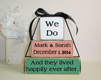 3- Block Stack- Wedding- We Do- And They Lived Happily Ever After Custom-Painted Wooden Blocks-Country Decor-Shabby