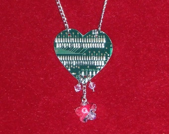 Circuit board heart necklace with Swarovski crystals