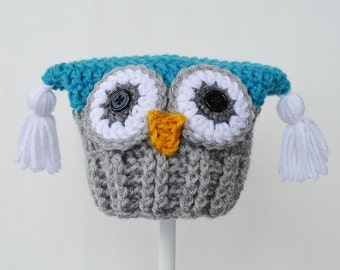 Baby Owl Hat, Blue and Grey, Ready to Ship