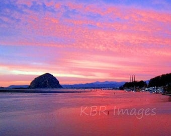 Morro Bay Rock and Pink Sunset