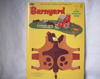 Vintage Paper Dolls, Barnyard Fuzzy Press-Out Book, Never Used Animal Play Set, 1966