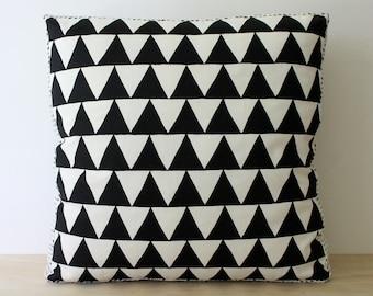Tri Black 40cm x 40cm box cushion - Hand screen printed
