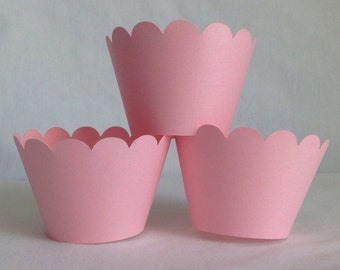 12 Count light pink scallop cupcake wrappers princess birthday party ballerina