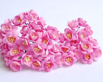 Paper flower, 50 pieces mulberry cherry blossoms, pink color.