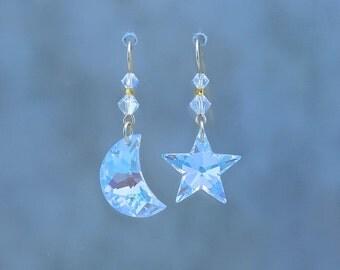 Crystal Moon and Star Earrings(Small), Swarovski Crystal Moon and Star, Celestial Earrings
