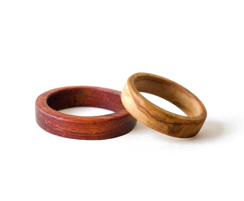 wooden wedding bands wooden rings set weeding rings set his