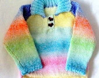 Babies Random Colour Jumper with Collar & Scolop edging