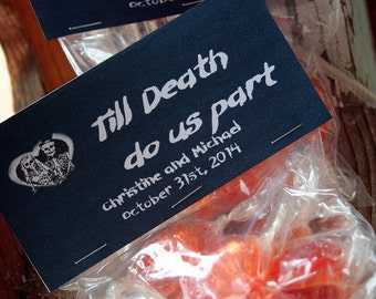 Halloween Wedding Party Favor Candy Bag Set of 4 - Till Death Do Us Part, Custom and Personalized, Gothic Wedding Party Favors