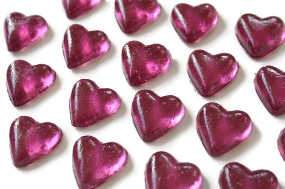 Purple Candy Hearts - 20 Pack Hard Candy Valentines Day - Wedding Favors, Baby Shower, Cake Decorations, Party Favors, Be My Valentine