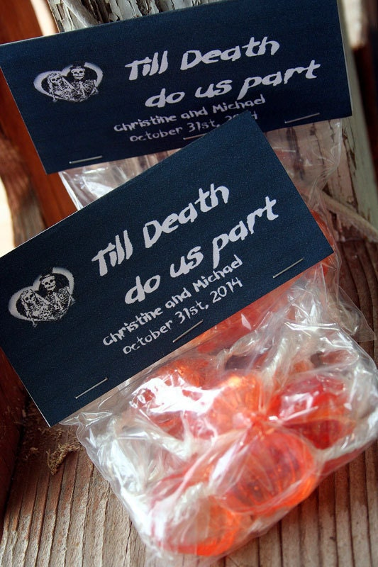 halloween wedding party favor candy bag set of 20 till death