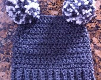 Double Pom Pom Crochet Child's Hat