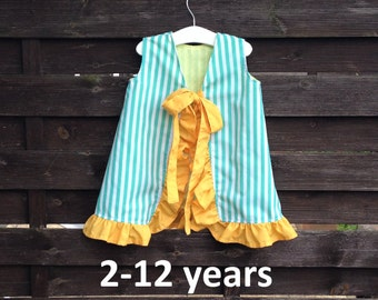 "Reversible, open back, a-line girl's dress with ruffle - PDF sewing pattern sizes 2-12 years, beginner sewing, easy to sew, ""The Lucy"""