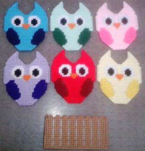 Owl Coaster Plastic Canvas Pattern Set
