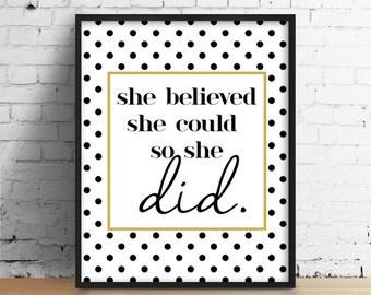 Motivational Print, Black and Gold Print, Inspirational Print, Polka Dot Print, Modern Home Print, Modern office Print, Home Office Print