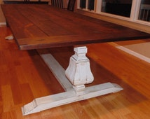 Farmhouse Urn Pedestal Base Trestle Table